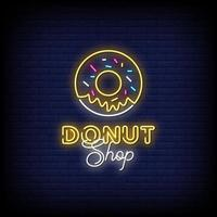 Donut Shop Neon Signs Style Text Vector