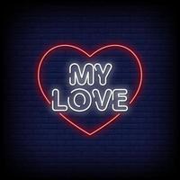 mi amor letreros de neón estilo vector de texto
