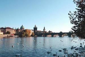 Scenic view of Charles Bridge in Prague photo