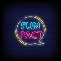 Fun fact Neon Signs Style Text Vector