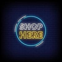 Shop Here Neon Signs Style Text Vector