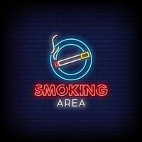 Smoking Area Neon Signs Style Text Vector