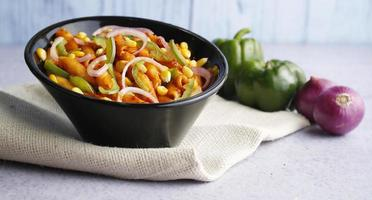 White sauce pasta with onions and capsicum photo