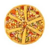 Isolated veggie pizza on white background photo