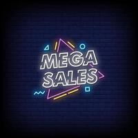 Mega Sales Neon Signs Style Text Vector