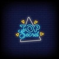 Top Secret Neon Signs Style Text Vector