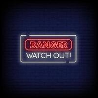 peligro, cuidado, letreros de neón, estilo, texto, vector