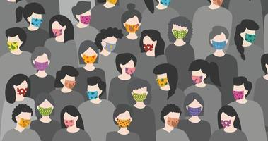 Background of a group of diverse people wearing colorful face masks. Coronavirus in the world. Concept of Coronavirus quarantine vector illustration.