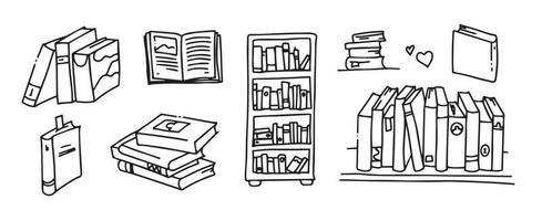 colección de libros de doodle - ilustración vectorial. libros en el estante. pila de libros. vector