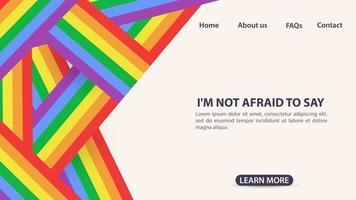 diseño para sitios web y aplicaciones móviles diseño de páginas bandera del arco iris símbolo lgbt espacio para información y botones de navegación del sitio vector