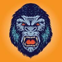 gorila enojado colorido vector