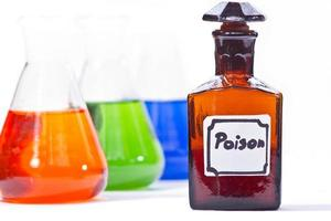Chemical glassware with poison label on white background