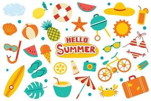 Hello summer collection set flat design on white background. Colorful summer symbols and objects. vector