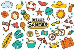 hola colección de verano escenografía sobre fondo blanco. coloridos símbolos y objetos de verano. vector