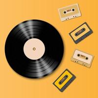 Vintage vinyl record disc and tape cassette, vector illustration