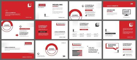 presentación y fondo de diseño de diapositivas. diseño de plantilla geométrica roja y negra. uso para presentaciones de negocios, diapositivas, marketing, folletos, publicidad, plantillas, estilo moderno. vector