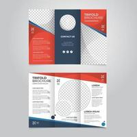 Abstract trifold brochure template with red color vector