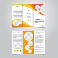 Abstract yellow and orange trifold brochure template vector