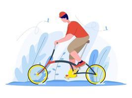 hombre montando una bicicleta plegable ilustración. vector