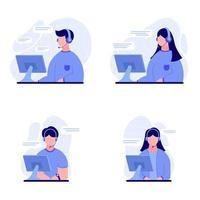 conjunto de personas que trabajan como atención al cliente o ilustración de centro de llamadas vector