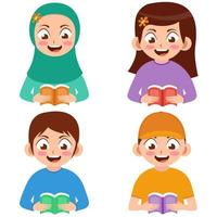 Kids with various gender reading a book cartoon illustration vector