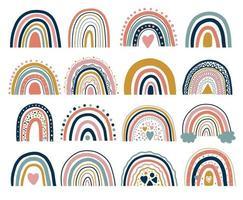 Bonita ilustración de arco iris bohemio neutral. arcoiris de tendencia. arcoíris boho para invitaciones de baby shower, tarjetas, carteles de sala de niños. vector conjunto de arco iris.