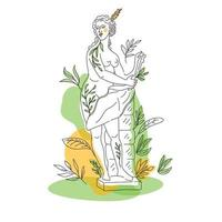 Ancient Greek goddess statue in a continuous line. Vector illustration. Modern drawing. Park in summer.OneLine style.