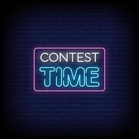 Contest Time Neon Signs Style Text Vector