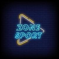 Zone Sport Neon Signs Style Text Vector