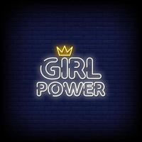 Girl Power Neon Signs Style Text Vector