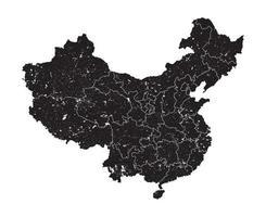 Mapa de China con la región de la provincia y el elemento de partículas de polvo de grunge en el mapa. alto detallado. diseño de silueta plana simple. fondo blanco aislado vector