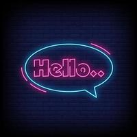 Hello Neon Signs Style Text Vector