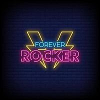 Forever Rocker Neon Signs Style Text Vector