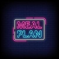 Meal Plan Neon Signs Style Text Vector