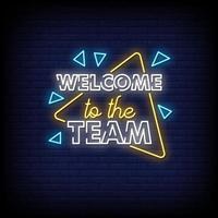 bienvenido al equipo letreros de neón estilo vector de texto