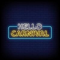 hola carnaval letreros de neón estilo texto vector
