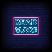 leer más letreros de neón estilo vector de texto