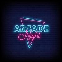 Arcade Night Neon Signs Style Text Vector
