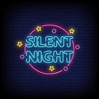 Silent Night Neon Signs Style Text Vector