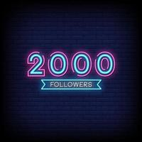 2000 Followers Neon Signs Style Text Vector