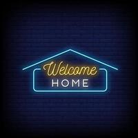 Welcome Home Neon Signs Style Text Vector