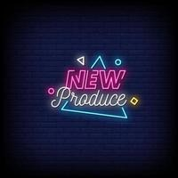 New Produce Neon Signs Style Text Vector