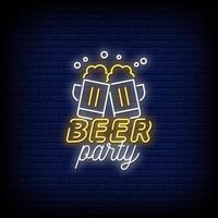 vector de texto de estilo de letreros de neón de fiesta de cerveza