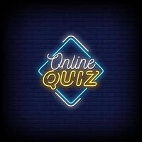Online Quiz Neon Signs Style Text Vector