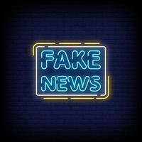 Fake News Neon Signs Style Text Vector