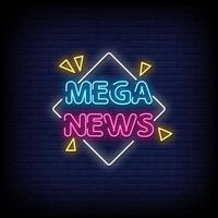 Mega News Neon Signs Style Text Vector