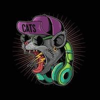 ilustración de hypebeast gato gritando vector