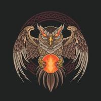 dark owl bring fireball illustration vector