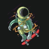 lindo astronauta en una ilustración de patineta vector