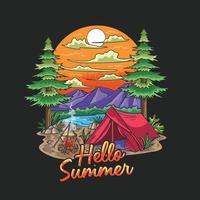 summer camp traveling holiday illustration vector